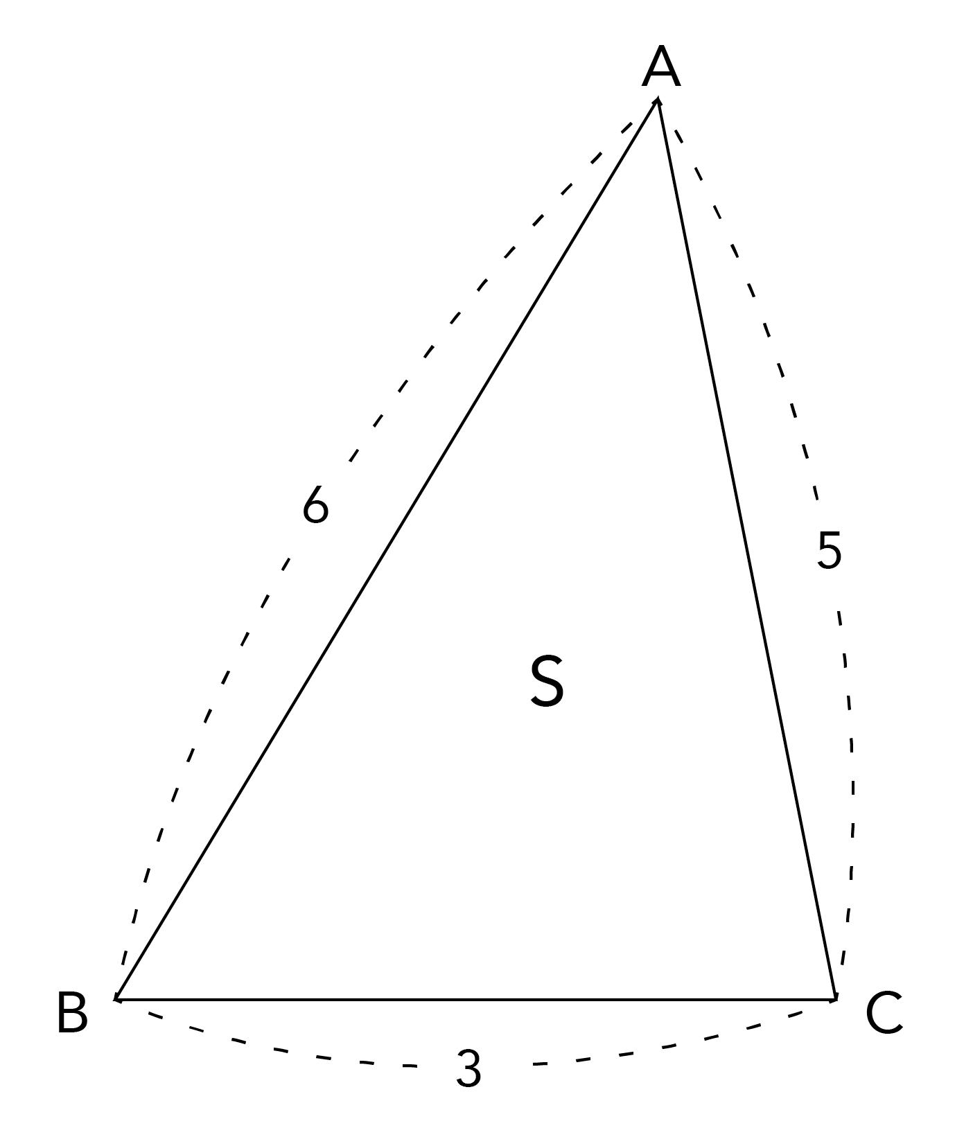a=3、b=5、c=6の三角形ABC